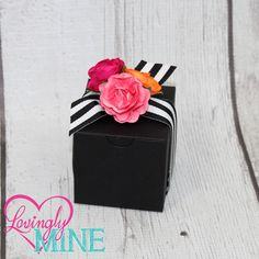 Kate Spade Inspired Baby Shower, Bridal Shower Hot Pink, Pink and Orange Paper Roses with Black & White Stripes Ribbon Medium Black Box Favors Boxes - 10 Boxes  - Bridal Shower, Birthday by LovinglyMine on Etsy Kate Spade Inspired Party Theme