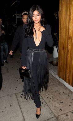 Kylie Jenner in Long Fringe Belt - Kylie Jenner Hula Skirt Outfit