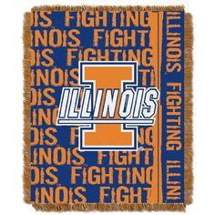 Illinois Fighting Illini NCAA Triple Woven Jacquard Throw (Double Play Series) (48x60)