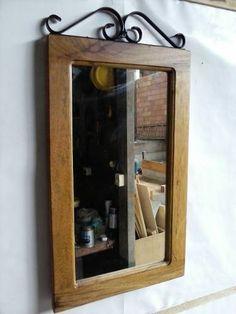 Moldura Rústica Para Espelho, Madeira, Demolição - R$ 65,00