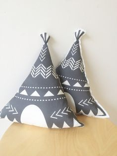 Charcoal grey teepee cushion pillow. Gray indian teepee decor pillow.