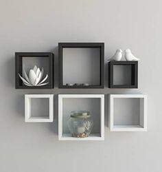 combinação de 6 nichos para sala nayan mix mdf 15mm branco e preto 6 peças - decoração nayan mix