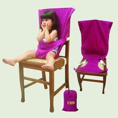Silla bebe magenta  Adaptador de asiento para bebes, con formato de funda y sujetador, que se coloca sobre cualquier silla estándar para adultos. Posee una correa que sujeta el producto a la silla y otra que sujeta al bebe. Está recomendada para bebes a partir de los 6 meses de edad o desde que el niño se mantiene sentado por si mismo. El período de uso puede extenderse hasta los 24 o 32 meses de edad.