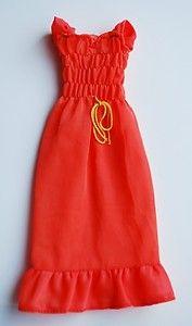 1974 Barbie Fashions 7814 Orange Maxi Dress Best Buy Clothes Clothing | eBay