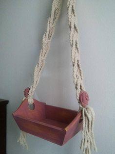 Macrame on Wodden Basket