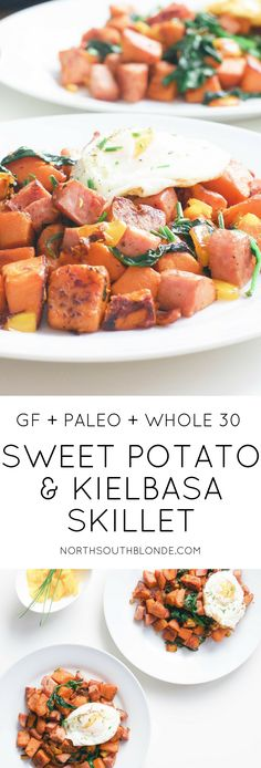 This healthy sweet potato and kielbasa skillet is high in protein and fibre a hearty whole 30 approved breakfast made in only 20 minutes One pot Easy Paleo Breakfast P. Clean Eating Breakfast, Clean Eating Diet, Clean Eating Recipes, Lunch Recipes, Paleo Recipes, Breakfast Hash, Breakfast Skillet, Free Breakfast, Breakfast Casserole