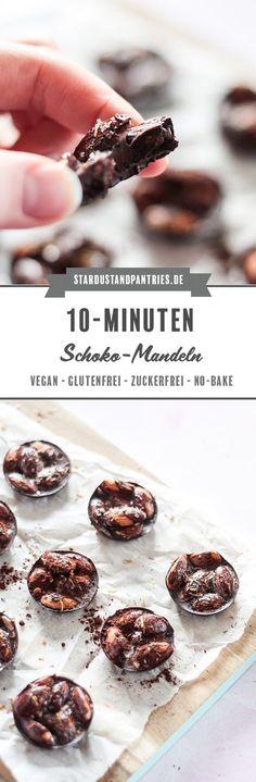 Ein gesundes Valentinstag Rezept: zart schmelzende Schokolade und knackige Mandeln: eine leckere zuckerfreie Süßigkeit. #Valentinstag #gesundeschokolade #schokoladeselbermachen