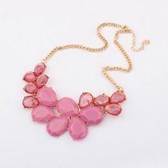 Elegant Rhinestone and Acrylic Embellished Waterdrop Necklace For Women
