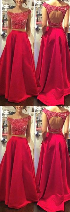 Two Piece Off-the-Shoulder Open Back Prom Dresses With Beading PG313 #promdress #twopiece #partydress #eveningdress #dress #fashion #pgmdress #promgown