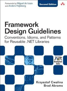 Framework Design Guidelines: Conventions, Idioms, and Patterns for Reusable .NET Libraries (2nd Edition) by Krzysztof Cwalina http://www.amazon.com/dp/0321545613/ref=cm_sw_r_pi_dp_WABcvb0H19XC8