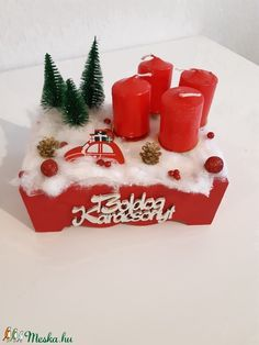 Adventi autós box (tacihobby) - Meska.hu Advent Candles, Xmas Decorations, Box, Christmas Ornaments, Holiday Decor, Home Decor, Snare Drum, Decoration Home, Room Decor