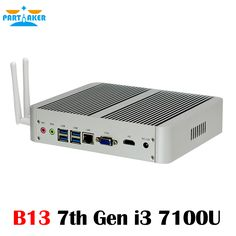 Partaker 7th Gen Fanless Windows 10 Kaby Lake Core i3 7100U 4K HDMI VGA Mini PC with 4GB RAM