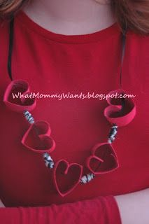 Recycled Paper Towel Tube Heart Necklace with Duct Tape Beads WhatMommyWants.blogspot.com