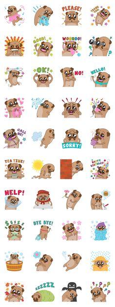 Poog Life - minikiki - LINE sticker set of Poog, the loveable pug.