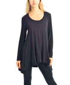 b532b38203 Black Hi-Low Scoop Neck Top | zulily Virtual Closet, Scoop Neck, Tunic