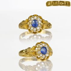 Antique Sapphire Ring - 1907 Antique Ring Natural Ceylon Sapphire Pearl 18k Gold Birmingham, Edwardian Ring, Antique Jewelry, Victorian by HeartofHeartsJewels on Etsy