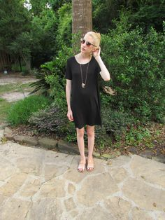 LOFT Haul black trapeze dress hammered gold pendent necklace and gold slide sandals from @LOFT #LoveLoft