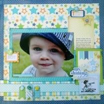 My Shining Star page created with Carta Bella Baby Mine Boy Page Kit, by Teena Hopkins for My Scrappin' Shop.