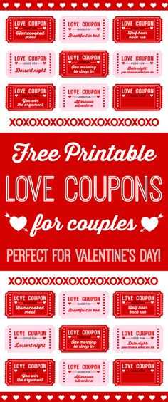 Free printable Love coupons for kids on Valentine's Day. This is a great way to show your kids how much you love them with free trips to the ice cream store and stay up late coupons. So fun! See more Valentine's Day party ideas and free printables at . Love Coupons For Him, Coupons For Boyfriend, Boyfriend Gifts, Valentine Day Love, Valentines Day Party, Valentine Day Crafts, Valentines Ideas For Your Kids, Printable Valentine, Valentine Ideas