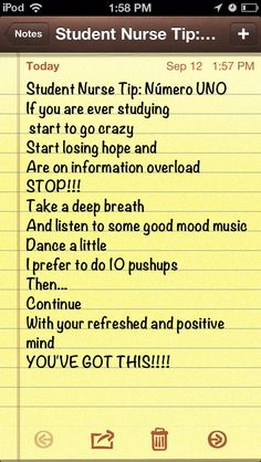 Student nurse student tip for studying. Everything will be ok