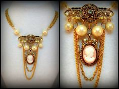 Deco Cameo Statement Necklace  Mixed Media by CindyCaraway on Etsy, $50.00
