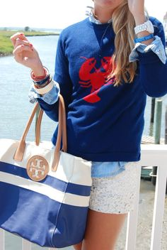 lobster intarsia & eyelet shorts; preppy with a twist