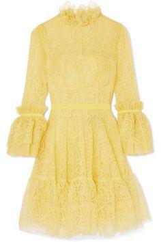 Costarellos - Velvet-trimmed Ruffled Corded Lace Mini Dress - Yellow