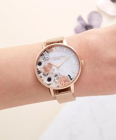 Olivia Burton Marble Florals Rose Gold Mesh Watch worn by female model Trendy Watches, Cute Watches, Elegant Watches, Beautiful Watches, Watches For Men, Nixon Watches, Olivia Burton, Cute Jewelry, Pandora Charms