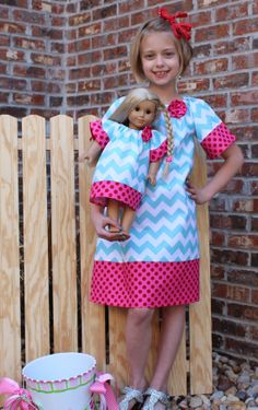 Girl's Boutique Peasant Dress  Matching Doll by KinleasKloset, $40.00