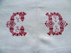 Red monogram CD on 19th century rustic sheet wioth a centre seam from Northern France. Sold by chatelaine-chic.