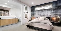 A stylish and inviting home design that provides a great setting for entertaining with family and friends. Visit this stunning Display Home in Woodvale. Central Kitchen, Plan Design, Design Ideas, Inviting Home, Storey Homes, 3 Bedroom Apartment, Stylish Bedroom, Display Homes, Master Suite