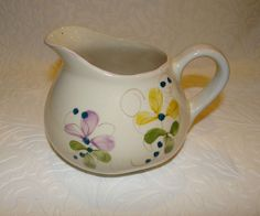 Vintage Handpainted in Portugal Floral Squat Pitcher   #P3315