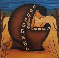 Lullaby by Yovannah Diovanti Native American Paintings, Native American Artists, Native American Indians, Indian Folk Art, American Indian Art, Deviant Art, Navajo Art, Native American Children, Southwest Art