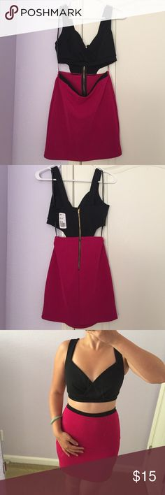 Forever 21 Black & Hot Pink Cut Out Dress NWT. Nice one piece black & hot pink cut out dress. Perfect for a night out with the girls or to go clubbing. Exposed back gold zipper. Size S. Sorry no trades or Paypal transactions. Forever 21 Dresses