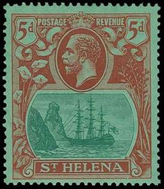St. Helena, SG 103a, 1927 5d Red and green on emerald, Broken mainmast variety, o.g., fresh and Very Fine (SG £250)
