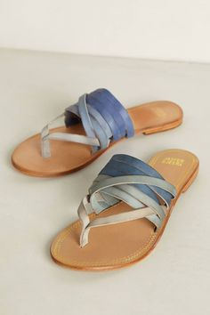 Shades of blue... strappy flats are perfect for summer! Open back heels are best for flats for me. Real leather bottoms ❤️