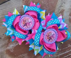 Paw Patrol Skye Inspired Piggy Tails 4 Inch Bows / Birthday Bows