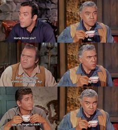 Ben is clobbered by a neighbor who has been brazenly pilfering Ponderosa cattle. He tries to clean himself up before sitting down to breakfast, but his sons are not fooled. From The Rescue (Bonanza)