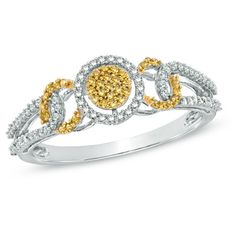 1/3 CT. T.W. Enhanced Yellow and White Diamond Cluster Ring in 10K White Gold