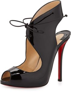 Christian Louboutin Allegra Patent Lace-Up Red Sole Sandal, Black