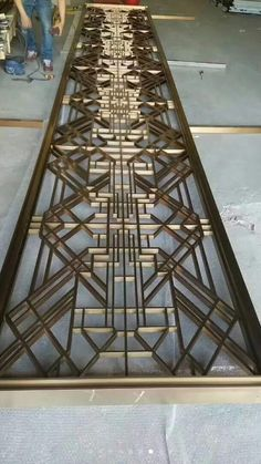 Metal screen with tubes pattern.