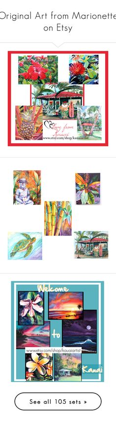 """""""Original Art from Marionette on Etsy"""" by artbymarionette ❤ liked on Polyvore featuring art, kauaiart, kauaiartist, Christmasart, hawaiianart, home, home decor, wall art, croton and colorful paintings"""