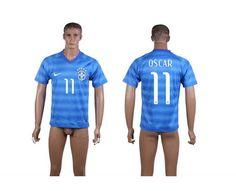 AAA+ Thailand 2014 Brazil 11 OSCAR World Cup Away Blue Soccer Jersey prices USD $19.50 #cheapjerseys #sportsjerseys #popular jerseys #NFL #MLB #NBA