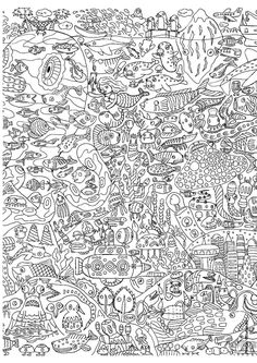 Free coloring page coloring-for-adults-13. 50? 100? In any case a lot of fish and other aquatic creatures are represented in this difficult adult coloring page. There's even a funny submarine! Allow 1 or 2 hours for this coloring page