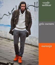 Verde militar   gris oscuro   naranja | 17 Combinaciones de color que todo hombre puede usar