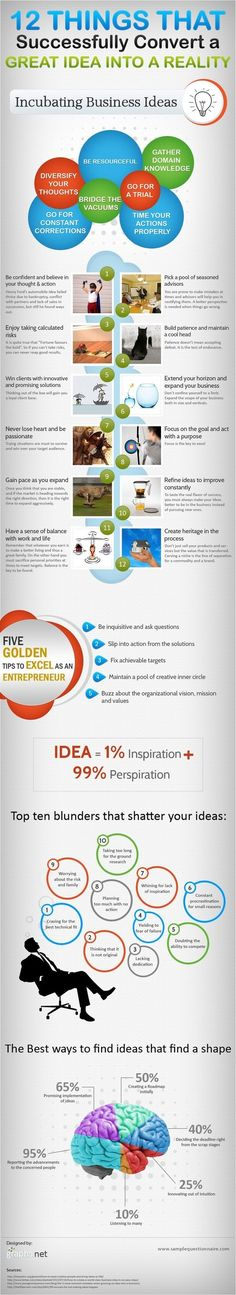 12 Keys to Converting Great Business Ideas into Reality success business infographic entrepreneur productivity startup startups small business entrepreneur tips tips for entrepreneur startup ideas startup tips small businesses business plan Starting A Business, Business Planning, Business Tips, Online Business, Business Coaching, Business Infographics, Life Coaching, Business School, Business Management
