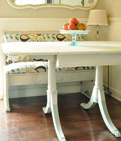 Painted table and dip dyed legs in a kitchen nook