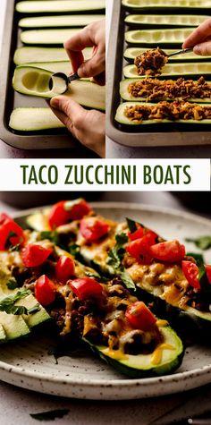 Zucchini Taco Boats, Taco Stuffed Zucchini, Zucchini Ravioli, Bake Zucchini, Homemade Ravioli, Ravioli Recipe, Homemade Tacos, Homemade Taco Seasoning, Dinner Dishes