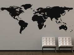 World map wall decal.... can use gold tacks to mark places we've been together