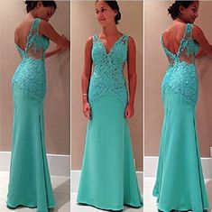 2016 New Fashion Mint Green V-neck And V-back Floor Length Formal Occasion Evening Dress on Luulla